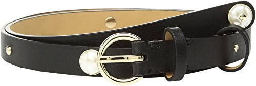 Kate Spade New York Women's Smooth Leather Belt with Imitation Pearl Studs, Black, Large (Designer Pearl)