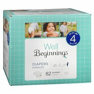 Well Beginnings Premium Box Diapers, size 4 - 82 ea