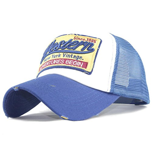 Price comparison product image western Letter Embroidered Casual Baseball Cap Mesh Back Hats For Men Women (Blue)
