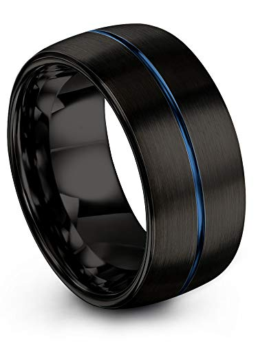 Chroma Color Collection Tungsten Carbide Wedding Band Ring 10mm for Men Women Blue Center Line and and Black Interior with Dome Brushed Polished Comfort Fit Anniversary Size 14