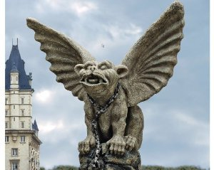"""17"""" Winged Bonded Cathedral Gothic Purebred Gargoyle Dragon Statue Sculpture Figurine"""