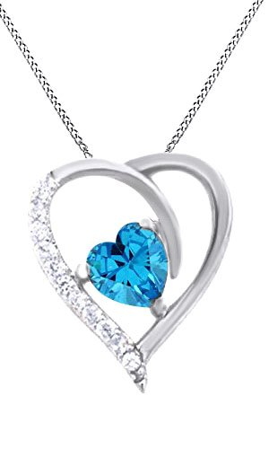 Simulated Aquamarine Heart Pendant Necklace 14k White Gold Over Sterling - Aquamarine Necklace Pendant