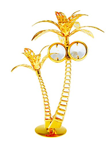 Palm Trees 24k Gold Plated Figurine with Swarovski Crystals