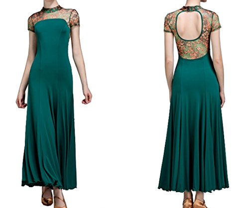 Valse Robe Fleur Robe Jupe Robe De Danse Danse Moderne Jupes Cha Cha Salle De Bal Verte