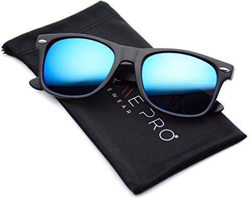 WearMe Pro - Horn Rimmed Sunglasses Revo Large Mirror Lens - Wayfarer Sunglasses Men's Mirrored