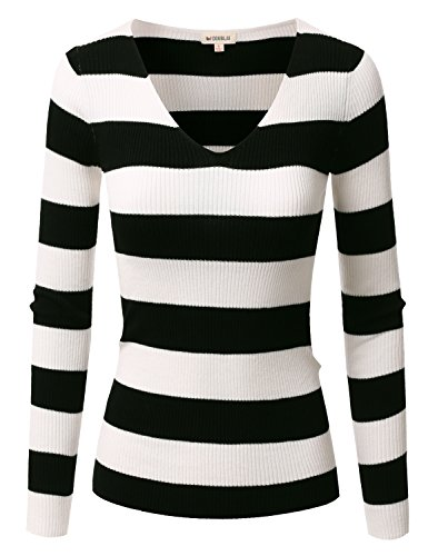 Doublju Fitted Deep V-Neck And Round Neck Ribbed Knit Sweater Top BLACKIVORY SMALL