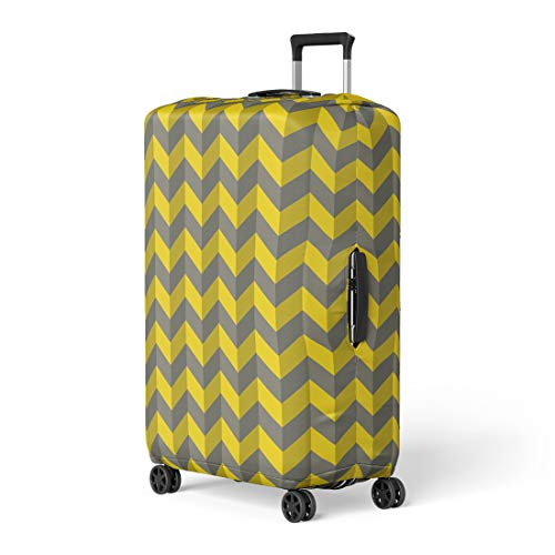 - Pinbeam Luggage Cover Abstract Gray and Yellow Chevron Op 3D Zigzag Travel Suitcase Cover Protector Baggage Case Fits 18-22 inches