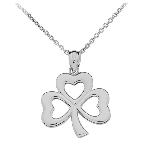 Dainty Sterling Silver Three-Leaf Heart Clover Irish Shamrock Pendant Necklace, 16""