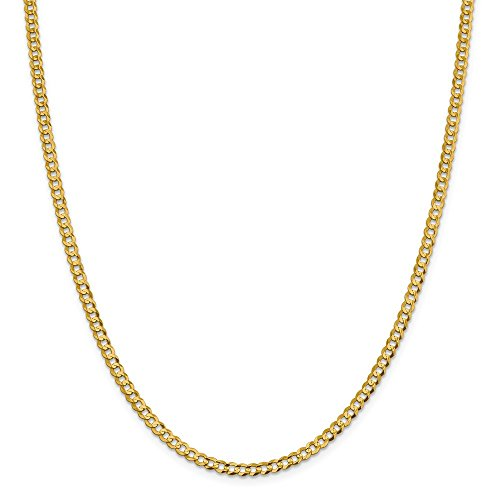 Bismark Designer Necklace - 14k Yellow Gold 3.7mm Solid Flat Cuban Chain Necklace 16 Inch Pendant Charm Bismark Curb Miami Fine Jewelry Gifts For Women For Her