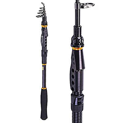 Sougayilang Spinning Telescopic Fishing Rod Graphite Carbon Fiber Travel Portable Super Hard Fishing Pole for Boat Saltwater and Freshwater Fish Fishing Rods Poles from Sougayilang