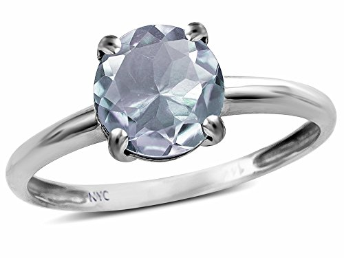 (Star K Genuine Aquamarine Round 7mm Classic Solitaire Engagement Promise Ring 10 kt White Gold Size 7 )