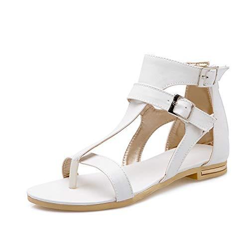 Fantastic-Journey-sandals Lady Summer Fashion Buckle Strap Shoes Flats Heel Gladiator Brief Flip-Flop Sandals,White,5