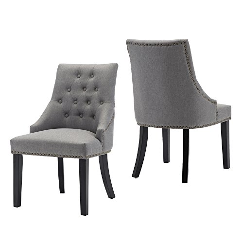 LSSBOUGHT Set of 2 Fabric Dining Chairs Leisure Padded Chairs with Black Solid Wooden Legs,Nailed Trim,Gray (Fabric Chairs Accent)