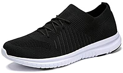 QIUYIXI Men's Slip On Walking Shoes Lightweight Causual Running Sneakers Multi Size: 8 Black/White