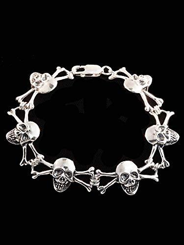 Skull Bracelet Silver Skull and Crossbone Bracelet Skull
