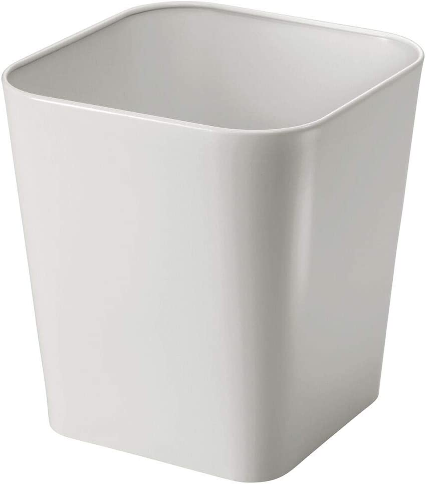 mDesign Decorative Metal Square Small Trash Can Wastebasket, Garbage Container Bin - for Bathrooms, Powder Rooms, Kitchens, Home Offices - Light Gray