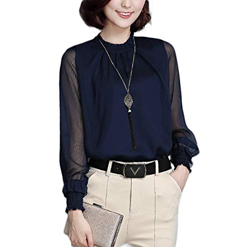 Petite Silk Cocktail Dress - Thx Style Women's Casual Office Work Long Sleeve lace Chiffon Blouse Shirts Tops (l, Navy) Fall Plain Open Career Define Petite Cocktail Sexy Bodysuit Vintage Sheer Dresses Design Silk Satin Navy