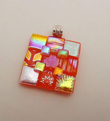 Large bold Orange gold squares patchwork texture fused dichroic glass pendant sterling silver bail Square Fused Glass Pendant