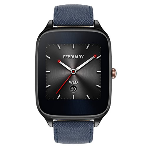 ASUS ZenWatch 2 Gunmetal Gray & Blue Leather Band 41mm Smart Watch with HyperCharge Battery, 1.63-inch AMOLED Gorilla Glass 3 TouchScreen, 4GB Storage, IP67 Water Resistant (International Version)