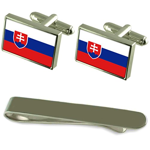 Slovakia Flag Silver Cufflinks Tie Clip Engraved Gift Set by Select Gifts