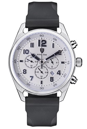 Rebel Men's Classic Cream Stainless Steel Chronograph 100 Meter WR Field Watch by Rebel Time