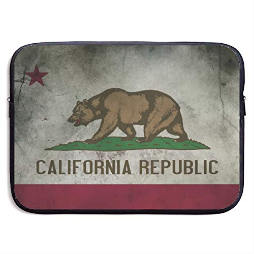 13-15 Inch Laptop Sleeve Case Protective Bag, Water Repellent Gaming Computer Tote, Tablet MacBook Carrying Cover for Boys & Girls - Vintage California Republic Flag