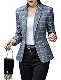 Women's Blazer 3/4 / Long Sleeves Jacket Suit Top One Button Office Cardigan Casual Plaid Blazers