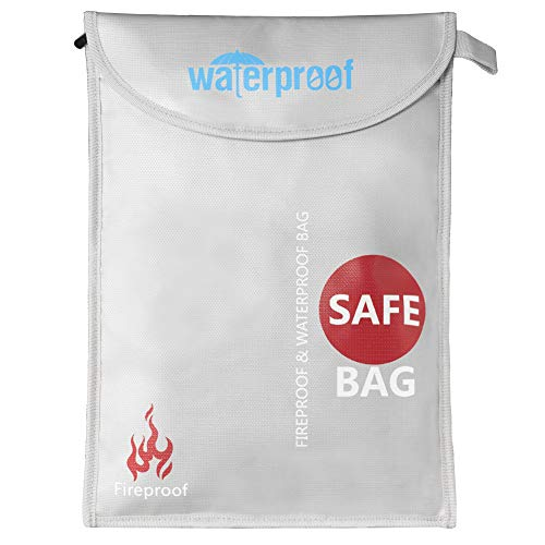 Fireproof Document Bag, DEEPLITE Silicone Coated Fire and Water Resistant Money Bag, Safe Jewelry Passport Storage, 16'' x 11'' by DEEPLITE
