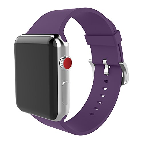 For apple watch band 38mm Soft Silicone Replacement iWatch strap for Apple Watch Series 3 Series 2 Series 1 Purple (Purple Series)