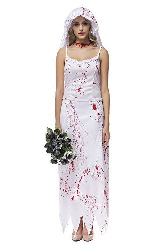 [Oxfox Halloween Costume Women Bloody Zombie Bride Ghost Horror Wedding Dress Outfit S] (Viking Outfits For Adults)