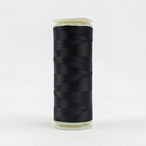 WonderFil InvisaFil Specialty Thread, 2-Ply Cottonized Soft Polyester, Silk-Like Thread for Fine Sewing, 100wt - Black, 400m
