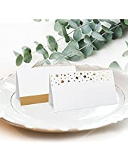 """CLEVER SIGNS Gold Place Cards for Wedding or Party, 100 Pack, 2"""" X 3.5, Double Design, Gold Foil Stars and Line, Scored for Easy Folding, Place Cards for Table Setting, Seating Place Cards for Tables"""