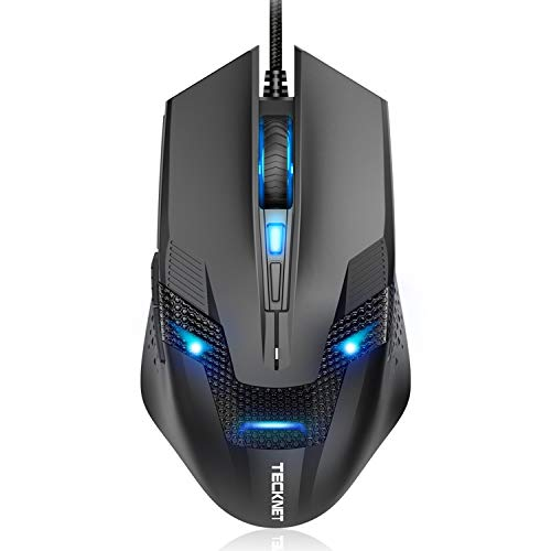 TeckNet Wired Gaming Mouse, Ergonomic Optical USB Gaming Mouse for Laptop PC Computer Gamer, Adjustable DPI Levels, 6 Buttons