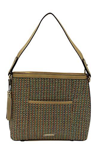 (Simply Noelle Fiesta Woven Texture and Vegan Trim Large Shoulder Handbag (Carolina))