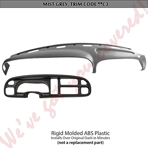 Bezel Overlay - DashSkin Molded Dash & Bezel Cover Kit Compatible with 99-01 Dodge Ram in Mist Grey