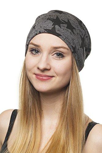 Shenky - Bonnet en jersey - motif étoiles noires - gris