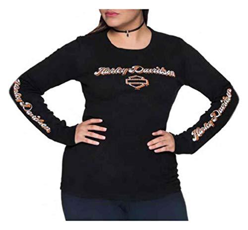 - Harley-Davidson Women's Heavy Handed B&S Long Sleeve Cotton Shirt - Black (3XL)