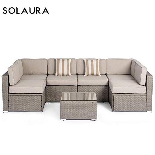 Outstanding Solaura Outdoor Furniture Set 7 Piece Wicker Furniture Modular Sectional Sofa Set Light Gray Wicker Light Gray Olefin Fiber Cushions Ykk Zipper With Ibusinesslaw Wood Chair Design Ideas Ibusinesslaworg