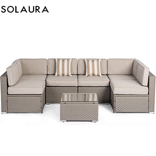 Solaura Outdoor Furniture Set 7 Piece Wicker Furniture