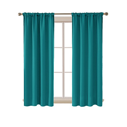 Deconovo Turquoise Blackout Curtains for Kitchen Window Thermal Insulated Rod Pocket and Back Tab Curtains 42x45 Inch 2 Panels by Deconovo