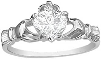 Sterling Silver Claddagh Ring with Heart Shape CZ