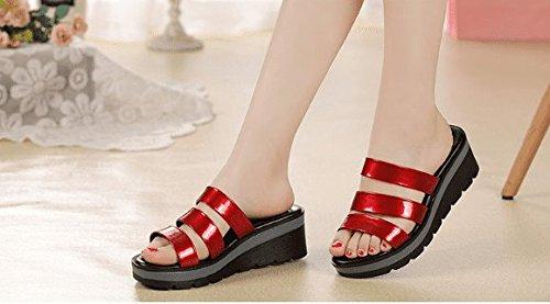 AWXJX Slope Sommer Damen Flip Flops Slope AWXJX Mittelabsatz Dicke Unterseite Soft Bottom Anti-Rutsch rot bd9cec
