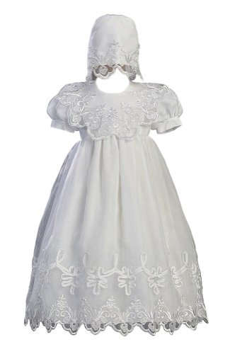 (White Embroidered Organza Christening Baptism Gown with Bonnet - XL (12 - 18)