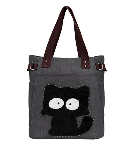 Tom Clovers Women Funny Cat Canvas Tote Bag Shoulder Bag Handbag Satchel Beach with Zipper Black by Tom Clovers
