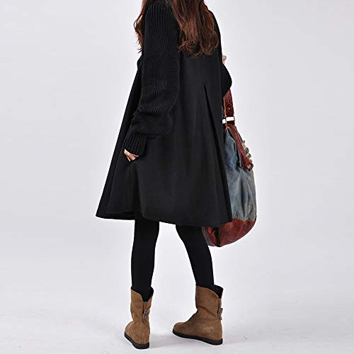 Casual Loose Xmiral Black Shirt Women Size Button Parka Solid Cardigan Plus Pocket Long Coat XC6BXx