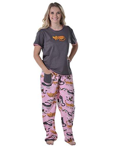 Lazy One HTS188/HPP188 Women's Cat Nap Pink and Black Cotton Pajama Pyjama Set