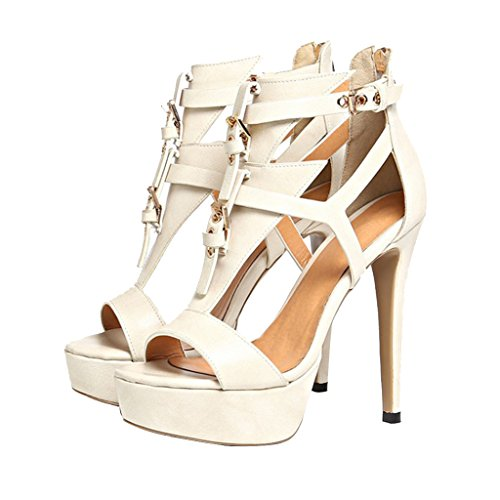 Heels Elegant Sandals Women's Zippered Girl's Beige Leather Stiletto Heel High Park CHAwzqUA