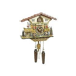 Quartz Cuckoo Clock Swiss house with music, turning dancers, incl. batteries TU 4218 QMT HZZG