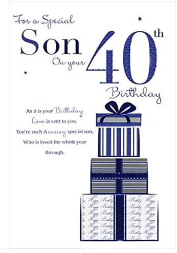 Peachy Son On Your 40Th Birthday Birthday Card Amazon Co Uk Kitchen Home Personalised Birthday Cards Cominlily Jamesorg