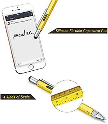 Yellow Black Personalized Gifts for Dad or Him 6 IN 1 Funny Pens Best Friend Gifts Cool Gadgets Tools for Men or Women